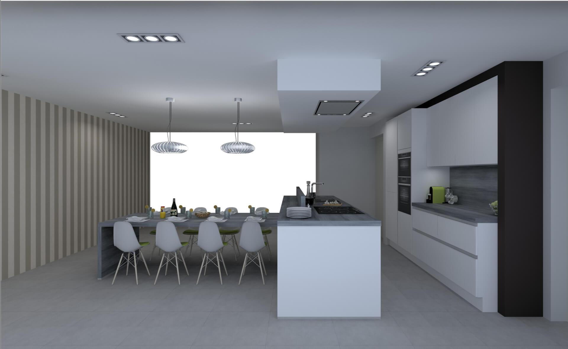 3D ontwerp van een moderne keuken door Creato Keukens